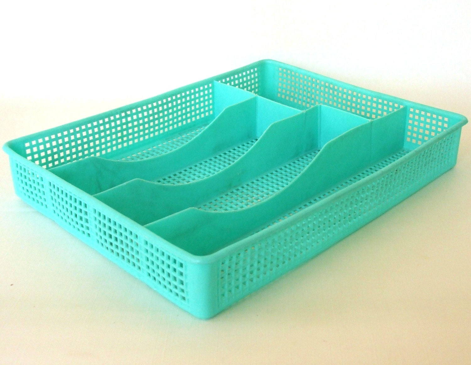 Silverware Sorter Flatware Storage Tray Mint by LaurasLastDitch