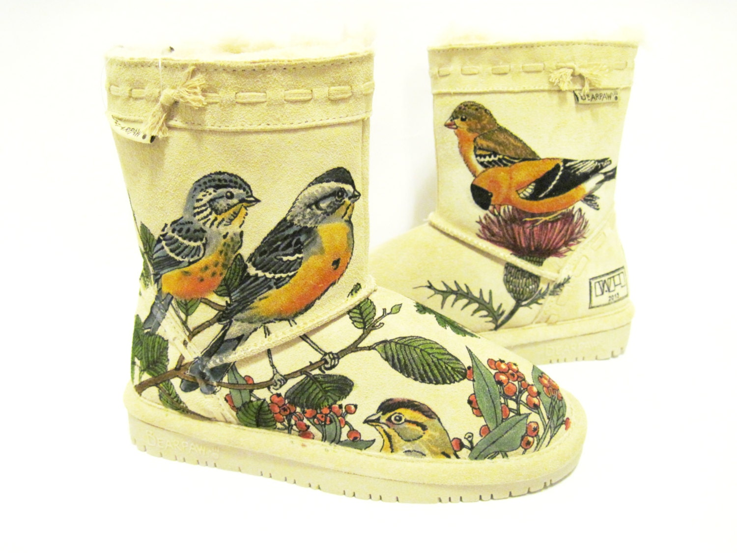 Boots Hand Painted, kids BEARPAW toddler size 13 birds - TheWoodsSecretGarden