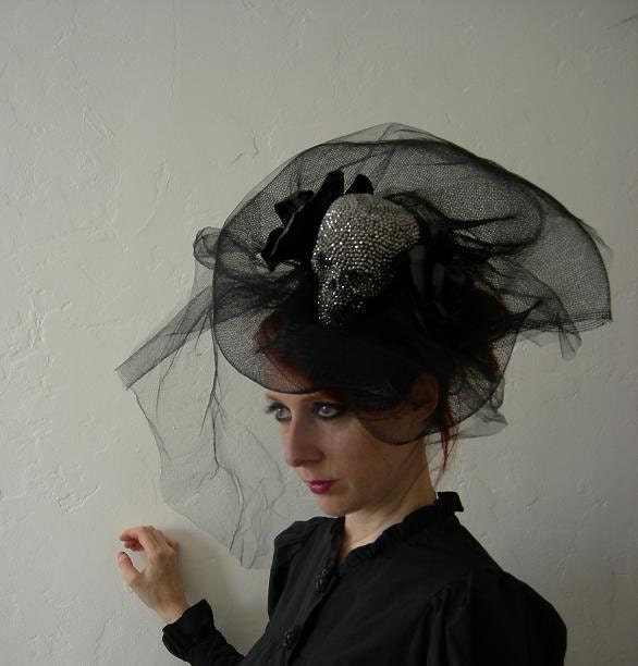 Lady Death - Crystal skull, tulle and leather fascinator.