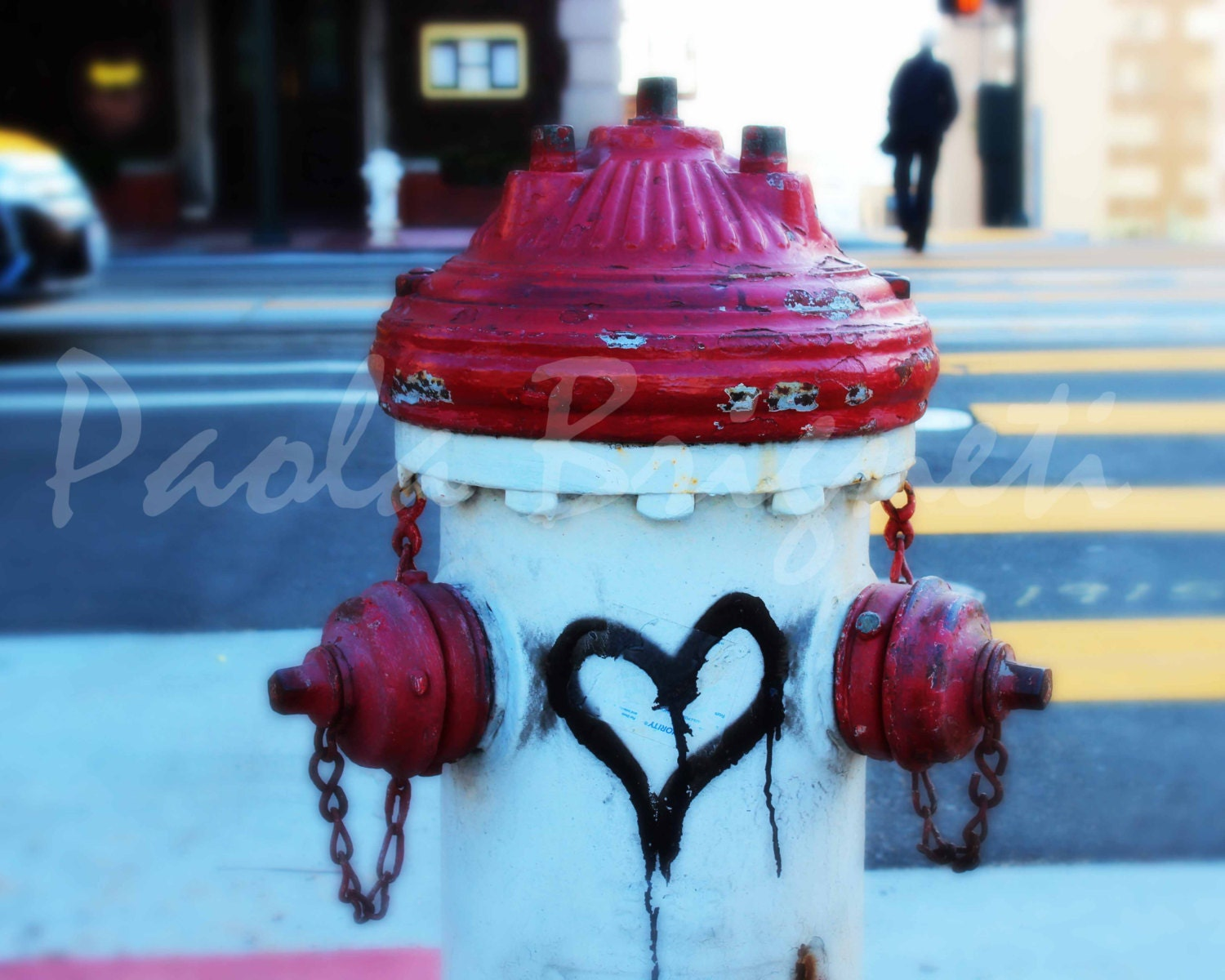 Black Heart Graffiti on Red Fire Hydrant - Valentine's Day Photography - Love - WorldPhotosByPaola