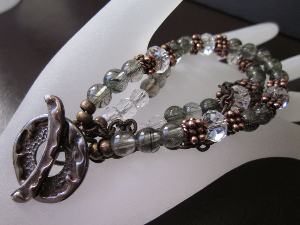 Saki Silver Shibuichi, Rutilated Green Amethyst, Swarovski Crystals, Antiqued Brass & Antiqued Copper-Flora Bracelet