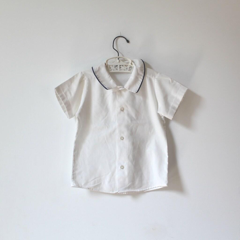 Vintage White and Blue Collared Shirt (child size 5-6) - littlereadervintage