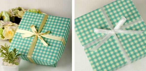 Green Check Pattern Gift Paper Box,5pcs