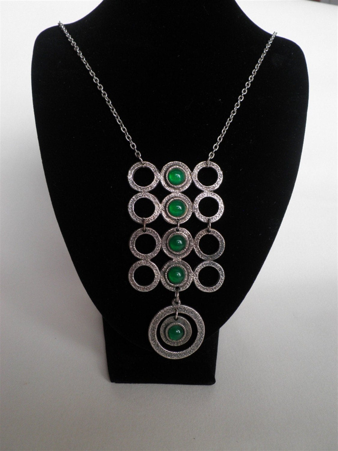 Pendant of 5 Jade Cabochons set in Pewter - St Patricks Day and beyond - Free Shipping