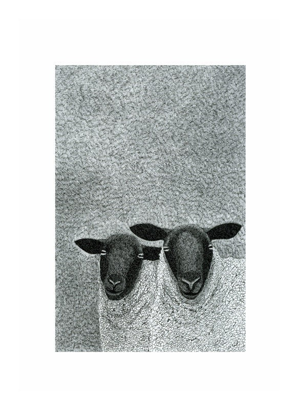 A4  Print Pen And Ink Drawing Sheep Winter Skies Animals Nature Black And White Art Traditional Art Illustration