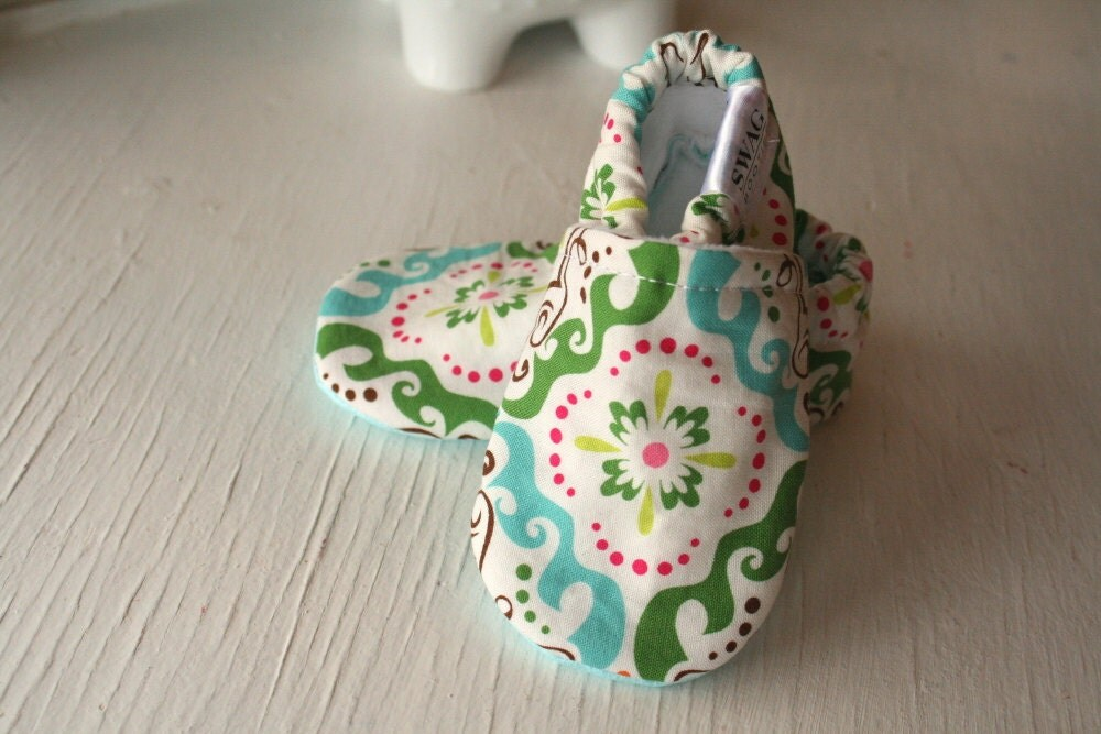 Booties Baby Shoes Slippers Infant Soft Soled non slip SWAG Medallion pink green aqua orange gift bright fun quality booties