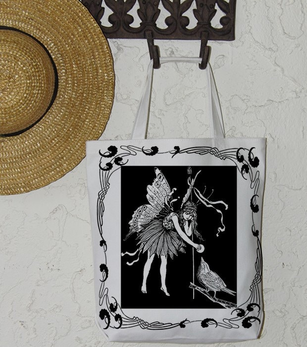 Fairy Feeds The Birds Bird Digital Image Download Sheet Transfer To  Pillows Totes Tea Towels Burlap No. 1374