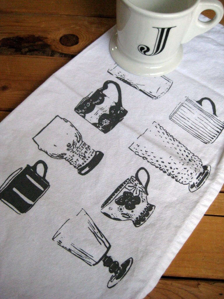 Screen Printed Organic Cotton Vintage Cups Cloth Napkins