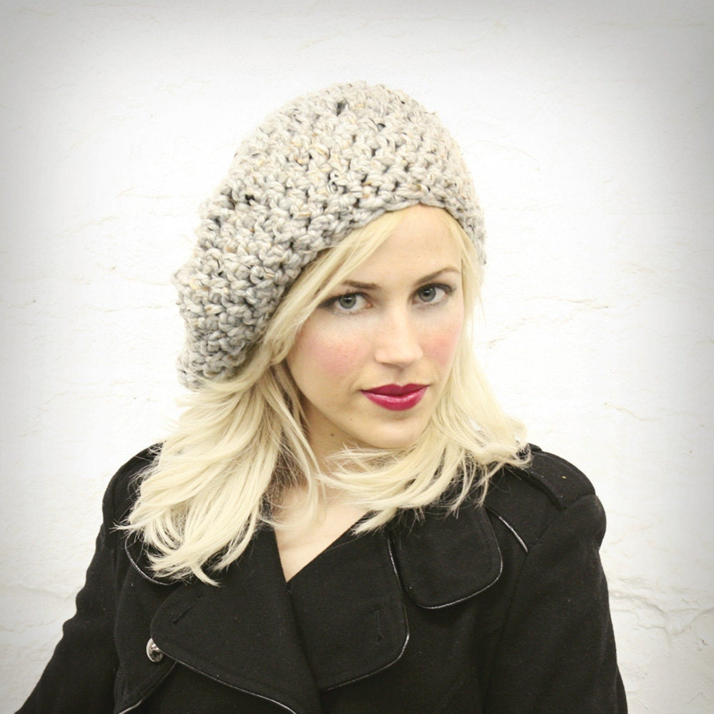 Gray Tweed Large Slouchy Hat MADE TO ORDER - mojospastyle