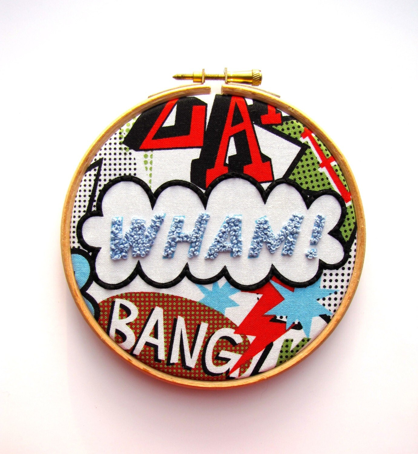 WHAM - Hand Embroidery Hoop Art - Bright Bold Colours - Comic Book - Superhero - 5x5 inch Hoop by mirrymirry - mirrymirry