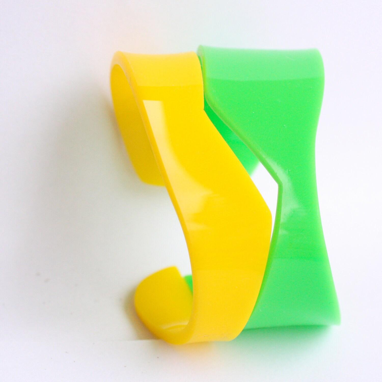 Color block  Plexiglass Acrylic cuff hand cut - Neon Green and yellow - HelenaRibeiro