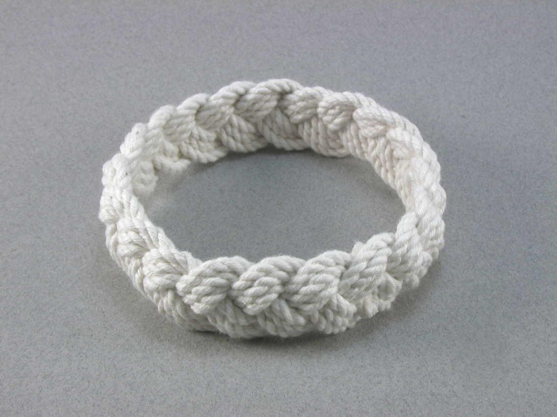 large white cotton turks head knot rope bracelet