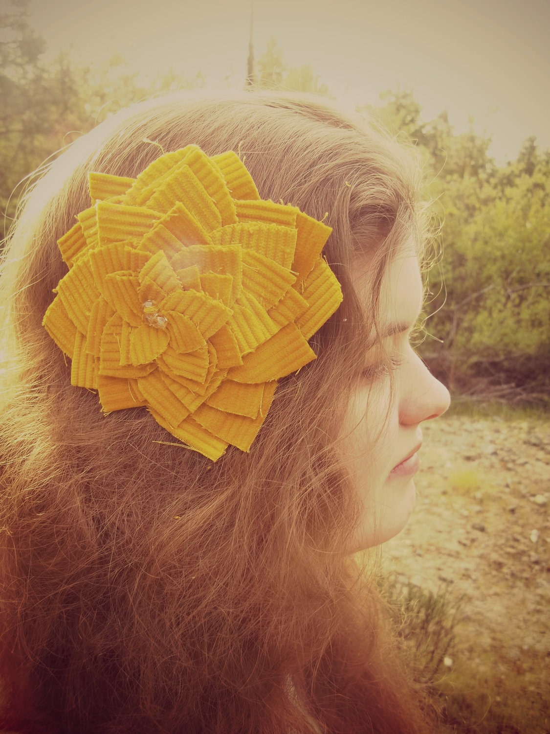 Big Mustard Yellow Corduroy Hair Flower Clip with Champagne Glass Beads - JennysTreasuresForU