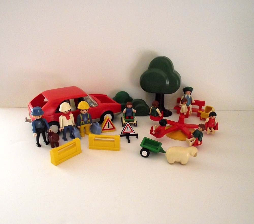 Vintage Grobra Playmobil Mixed Lot People Car Trees Accesories