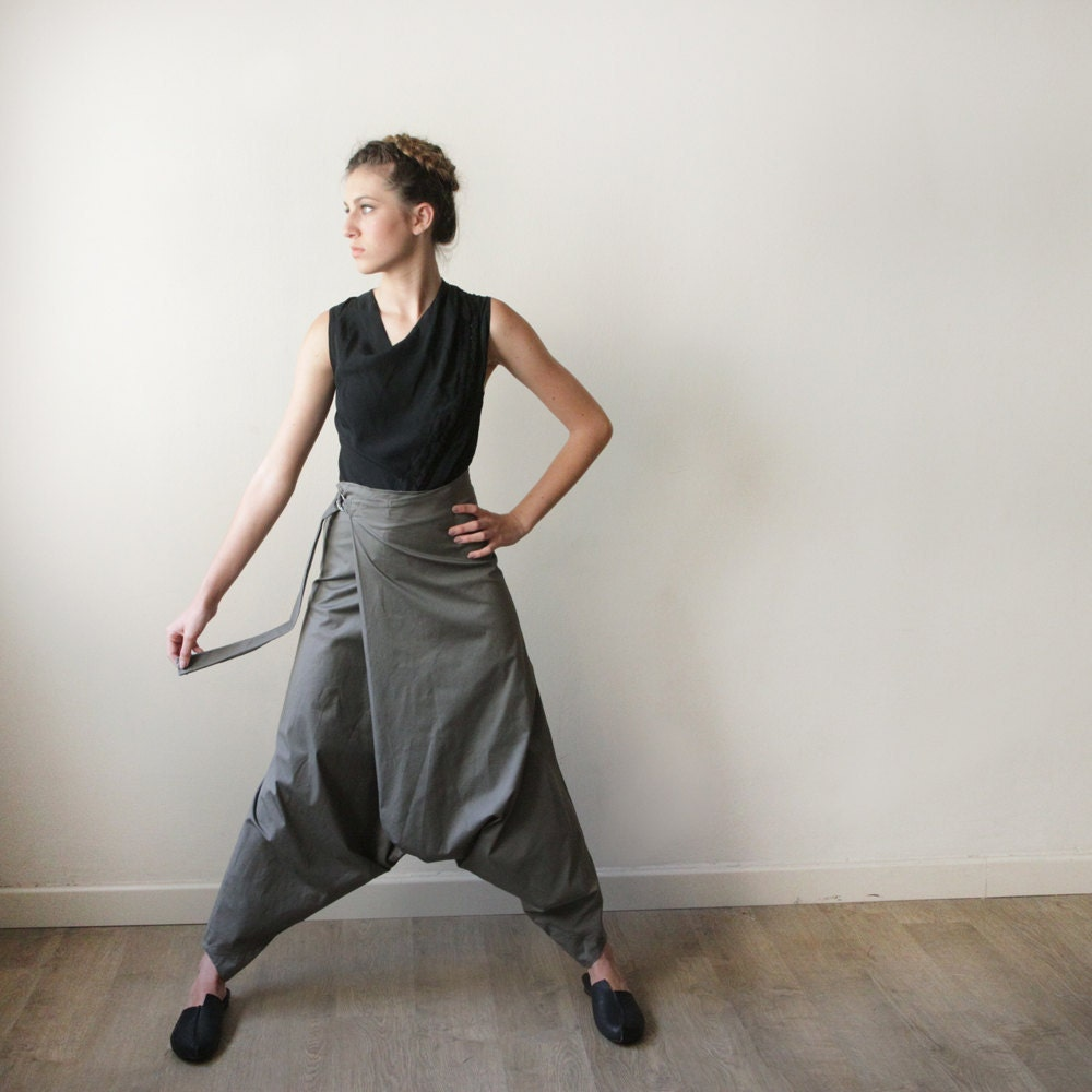 Women Pants Oversize Gray - CIPORKIN