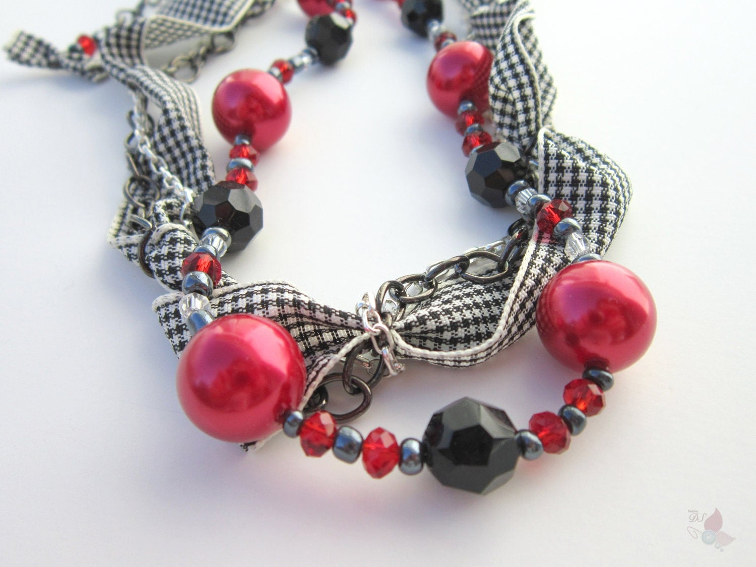 Necklace in Chains, Glass Pearls, Glass Beads, and Ribbon