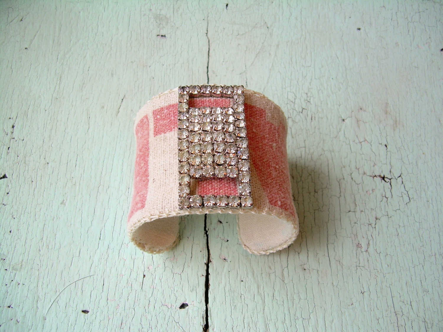Grain Sack and Rhinestone Cuff Bracelet