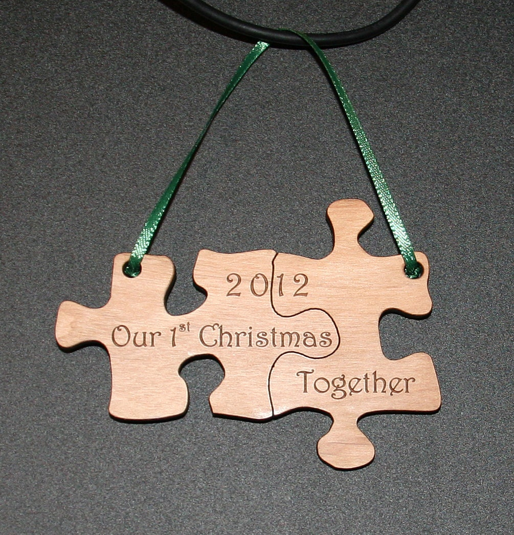 Our First Christmas Together Puzzle Ornament laser engraved and cut - TheCreativeLaser