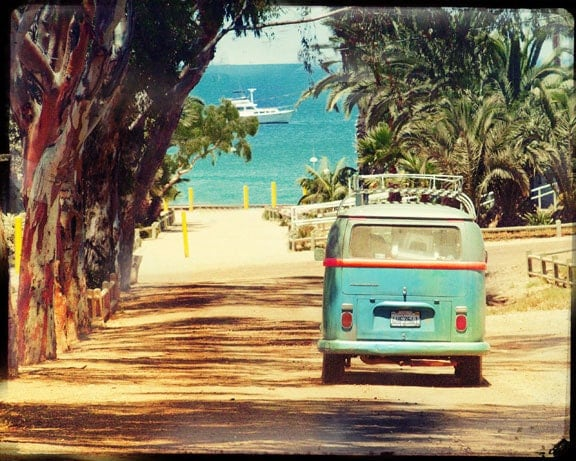VW Bus, Retro Photography, Retro VW Art, Sea and Sun, Photography, Catalina Island, Under 25 - LafayettePlace