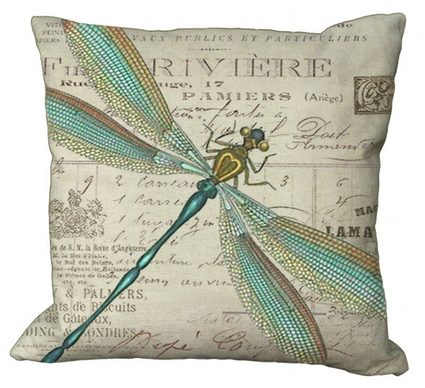 Aqua and Gold Dragonfly 20x20 or 18x18 or 16x16 or 14x14 Inch Pillow Cover - Soeuralasoeur