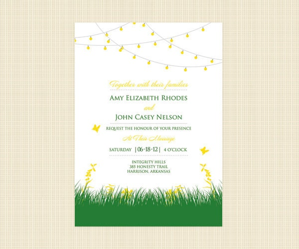 fun wedding invitation with string lights