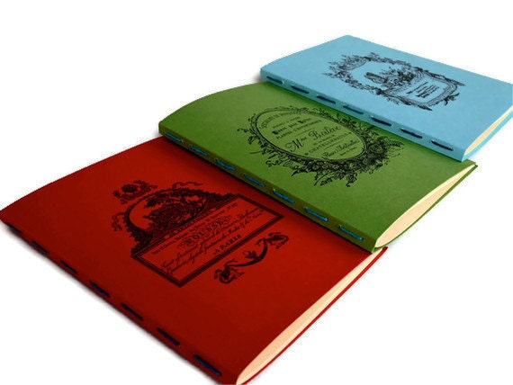 Notebooks  Jotters   Journals   Hand Stitched   Set of Three  French Antique Design