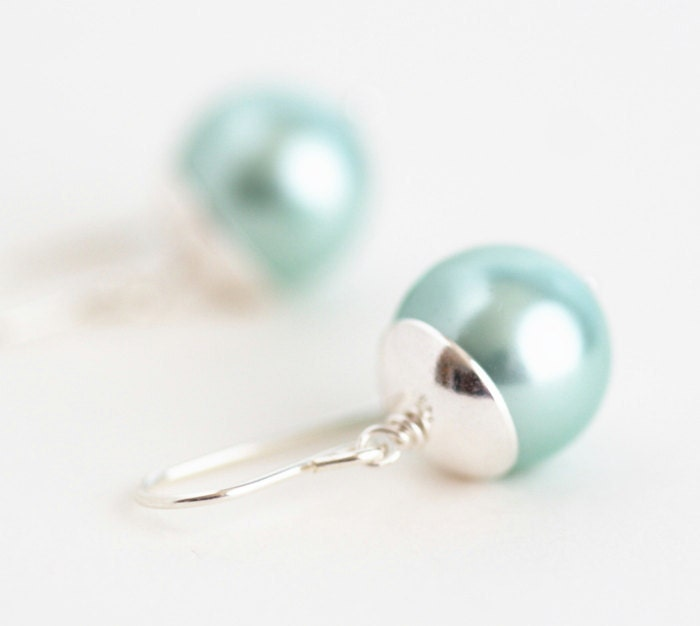 Seafoam Green Earrings - Sterling Silver Earrings - Mother of Pearl Earrings - JacarandaDesigns
