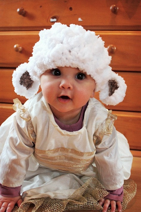 3 to 6 Months Little Lamb Sheep Farm Animal Beanie - Crochet White, Brown Bobble Baby Hat - Infant Photo Prop