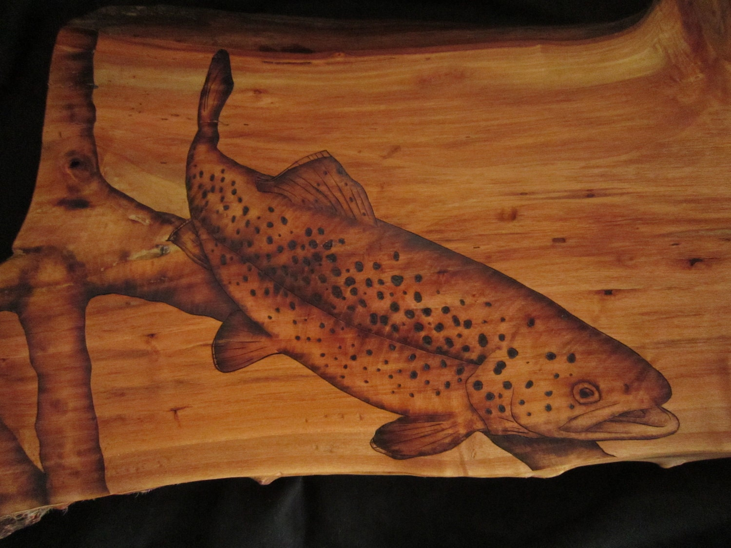 trout wall art - trout fishing nautical wall decor - brown trout pyrography - rustic wall hanging