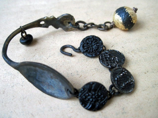 Quietus. Spoon and Button Recycle Victorian Tribal Assemblage Bracelet.