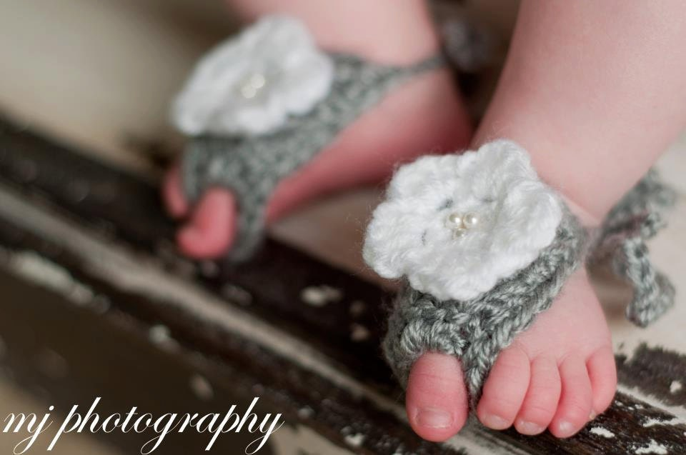 Baby Barefoot Sandals with Flower