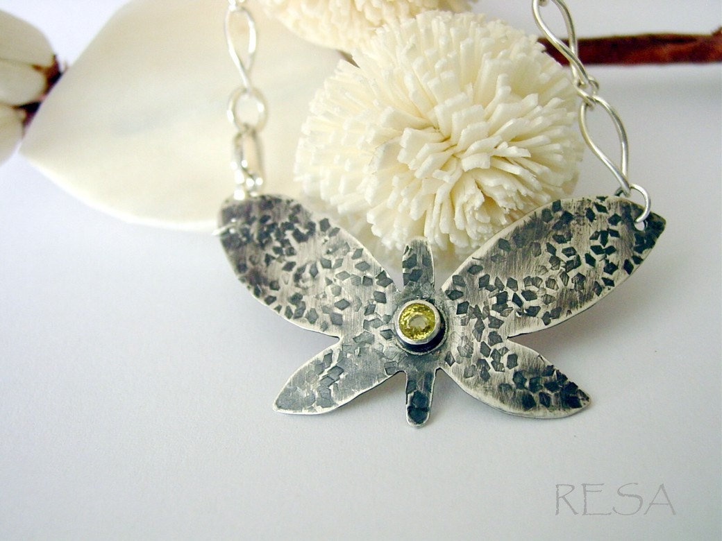 Yellow Sapphire Butterfly Bracelet Sterling - ResaArtDesign