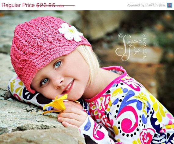 Sale NEW 1-2T Crochet Visor Beanie With Flower - rose pink, yellow, white