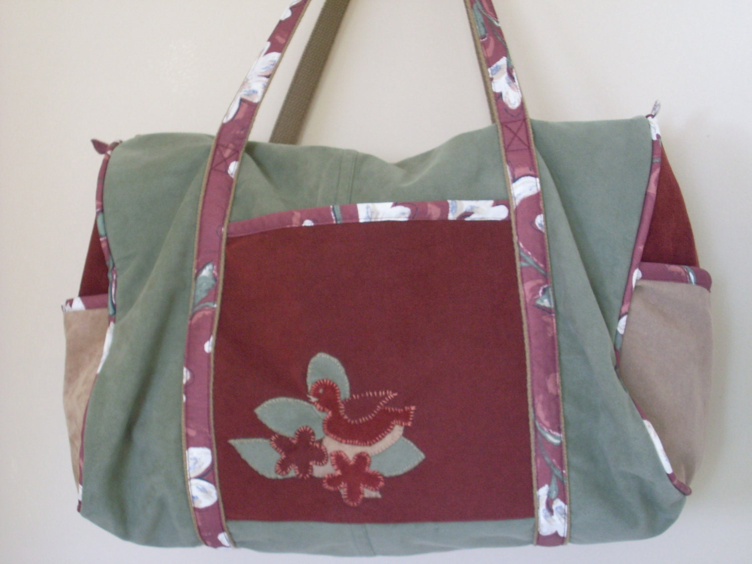 Upcycled Ultra Suede Overnight Bag with Bird Applique
