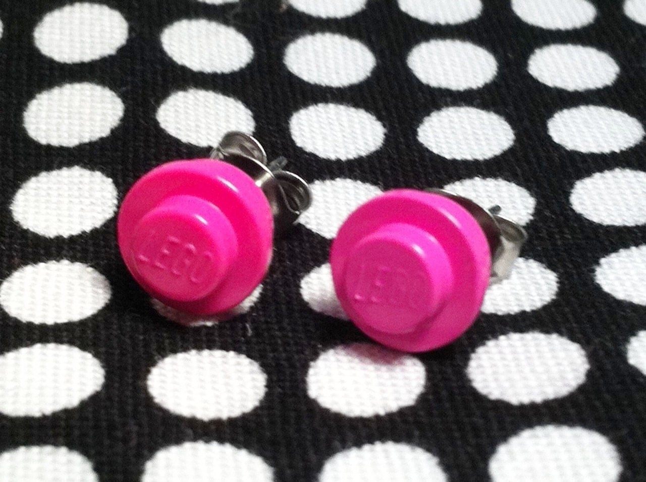 Hot Pink LEGO Stud Earrings