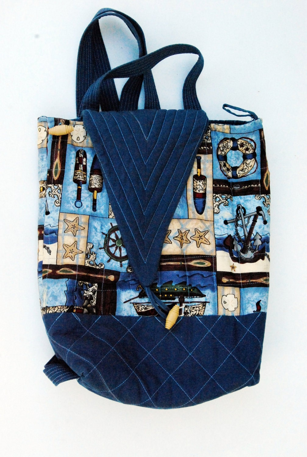 Nautical backpack Blue Quilted