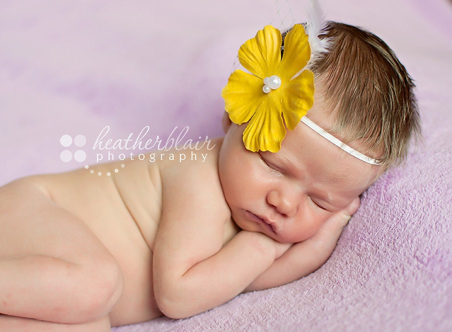 Simple Vintage Inspired Yellow Flower Headband w/ Pearls, Feathers, And Veiling - BabyAccessories