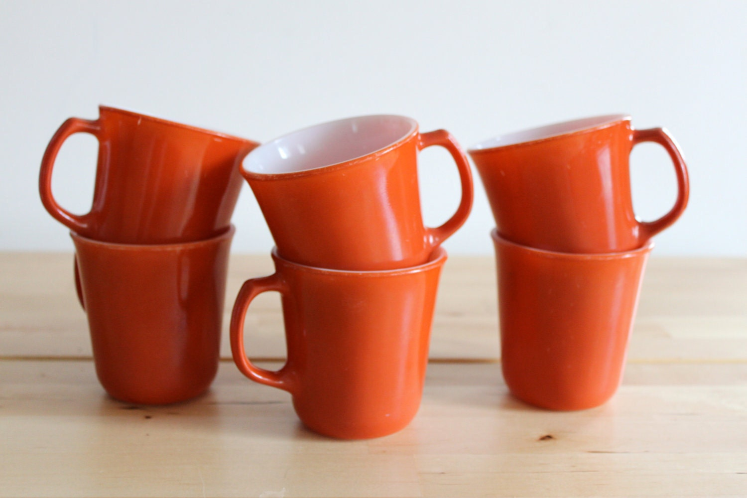 Orange Pyrex Coffee Cups - Bright Tangerine Milk Glass Mugs by Corning (Set of 6) - KitchenCulinaria