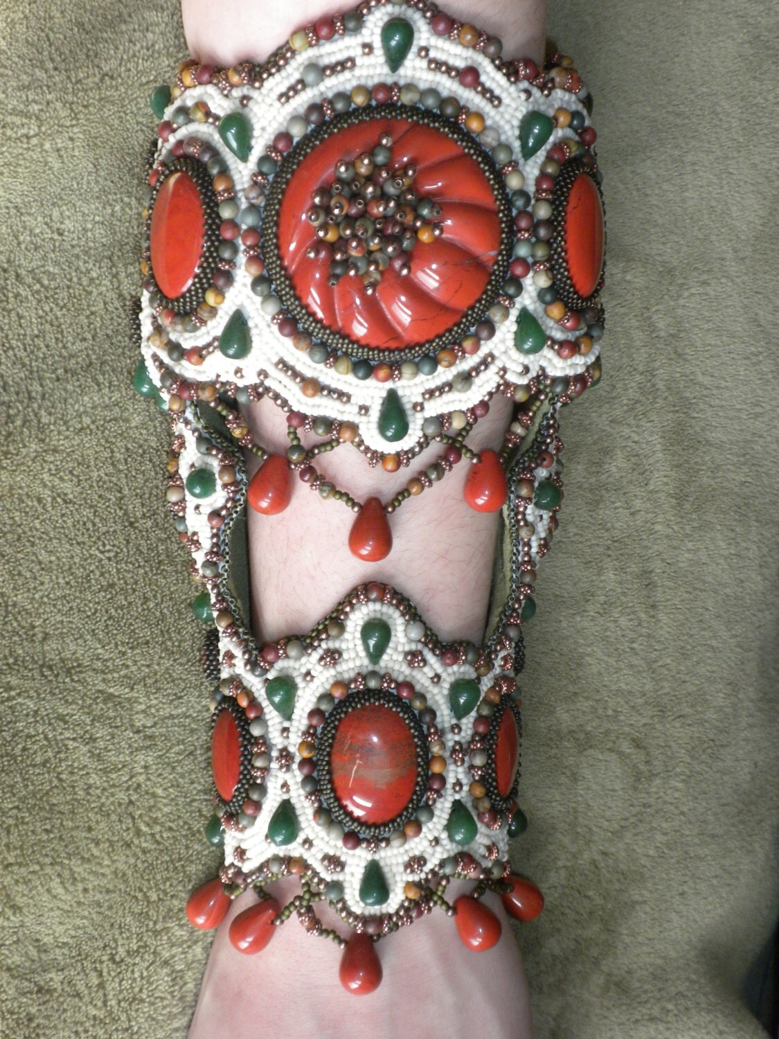 Red Jasper, Jade, and Copper Bead Embroidered Arm Cuff - One of A Kind