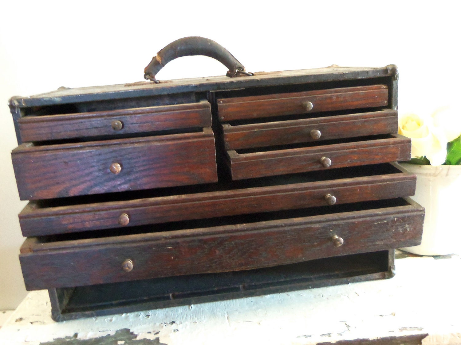 Vintage Machinist Chest Case Wood Box with Drawers