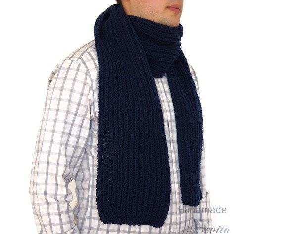 Sale 40 Hand knitted mens scarf Mens Scarf in Dark blue by nevita Hand Knitted Men's Scarves