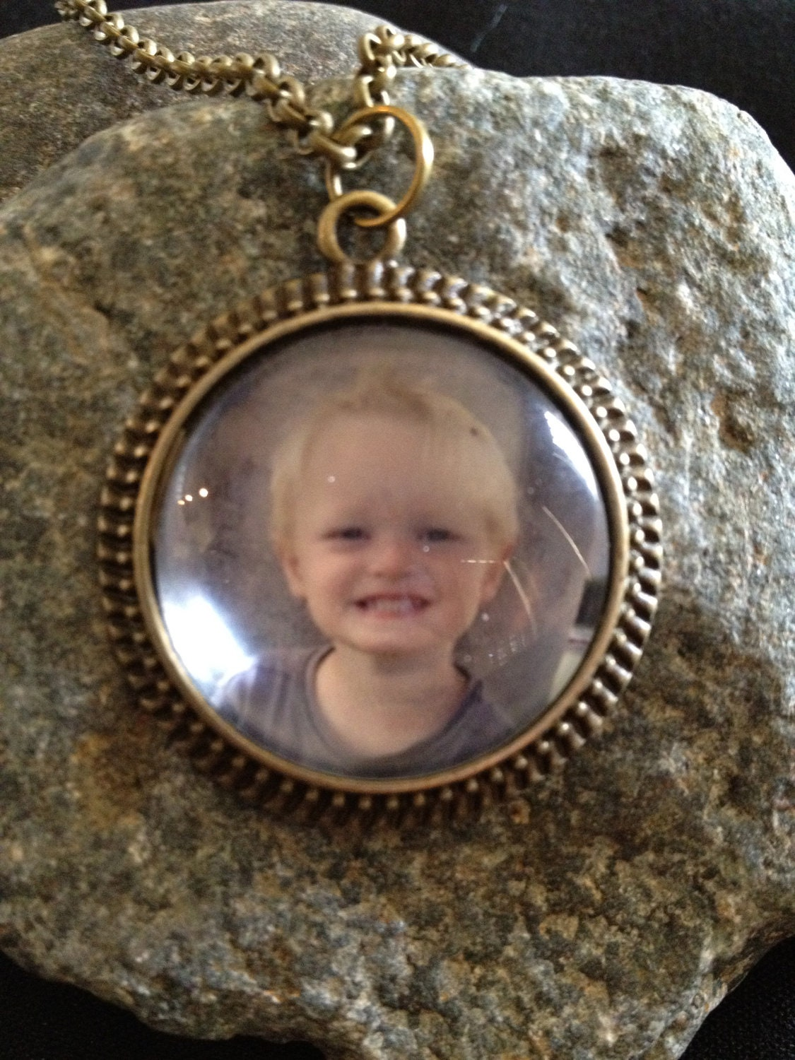 "1 1/2"" Personalized pendant necklace - Antique Bronze Finish"