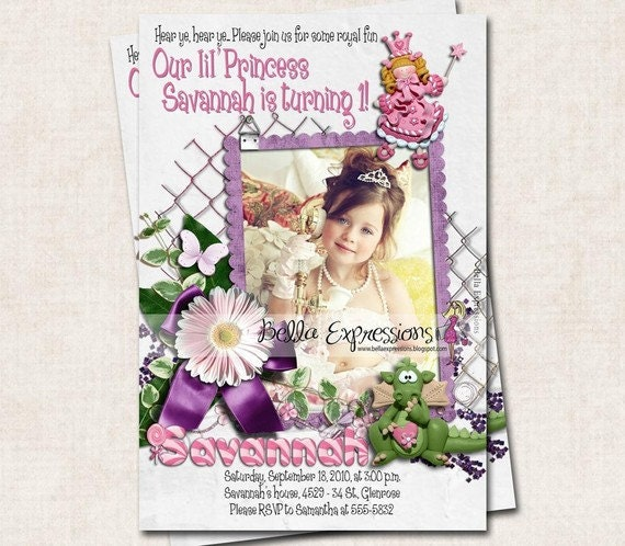 Birthday Party Invitation, Princess and Dragon, pink purple green, candy (Digital)