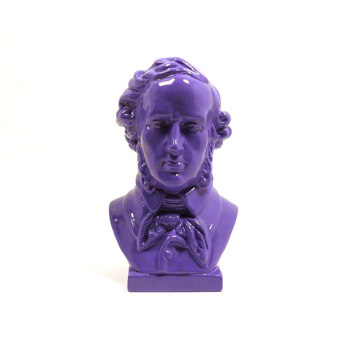 composer head bust, painted figurine, vintage, mendelssohn, purple, funky decor, dorm room, music, historical statue, upcycled figurine