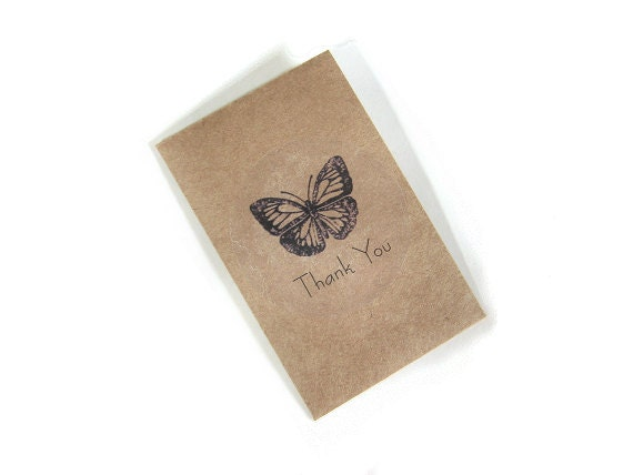 24 Cottage Chic Wedding Favors Mini sachets Custom Indigo Ink Butterfly Kraft Brown Neutral Paper Personalized Vegan Rustic