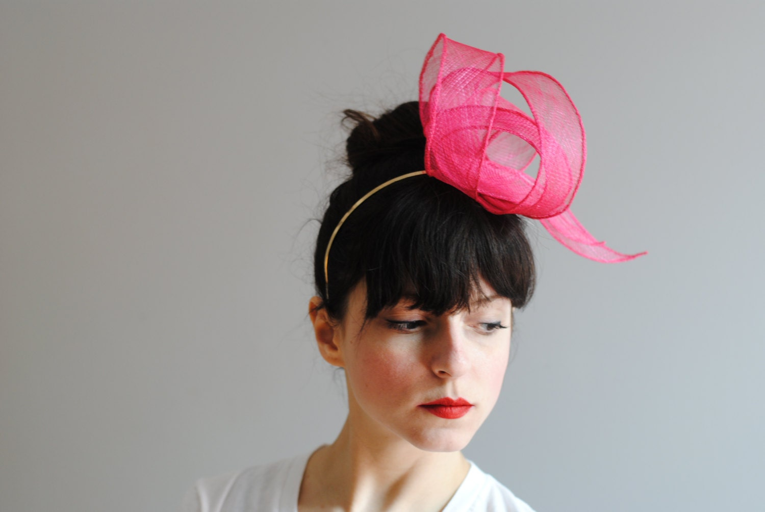 Light as Air Loops Headband in Bright Pink by CIAO NINA - CIAONINA