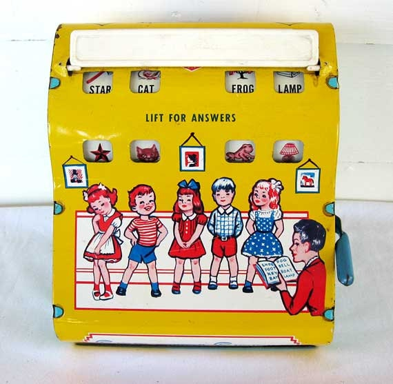 1950 Vintage Wolverine Toy  See and Spell Tin Toy, Yellow, Blue, Red, Educational, Kids - kelleystreetvintage