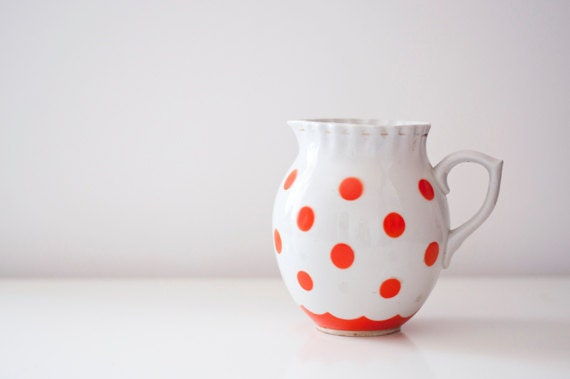 Vintage ceramic pitcher - coral polka dot - made in Soviet Union