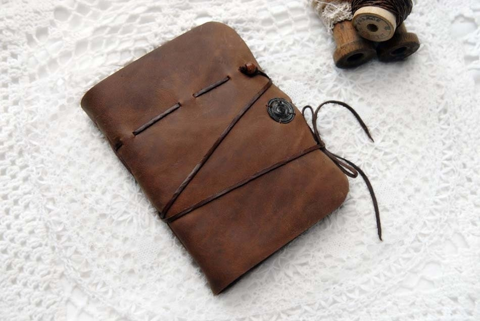 Ephemeral Dreams - Warm Brown Leather Journal with Tea-Stained Pages, Mixed Vintage Paper Ephemera & Vintage Ink Stamps - bibliographica