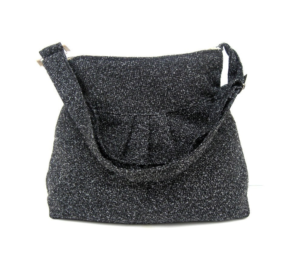 Sale % 10 off-New-Shoulder Bag-Wool-Black and Gray - marbled